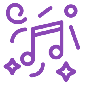 icon with musical notes and creativity symbols